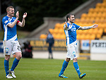 St Johnstone v Partick Thistle…13.05.17     SPFL    McDiarmid Park<br />Paul Paton and Brian Easton celebrate qualifying for Europe at full time<br />Picture by Graeme Hart.<br />Copyright Perthshire Picture Agency<br />Tel: 01738 623350  Mobile: 07990 594431