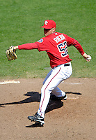 15 June 2006: Saul Rivera, rookie pitcher for the Washington Nationals, on the mound against the Colorado Rockies at RFK Stadium, in Washington, DC. The Rockies defeated the Nationals, 8-1 to sweep the four-game series...Mandatory Photo Credit: Ed Wolfstein Photo...