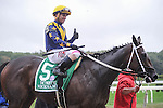 Nickname (no. 5) ridden by Javier Castellano and trained by Steve Assmussen, wins the grade 1 Frizette for two year old fillies on October 3, 2015 at Belmont Park in Elmont (Sophie Shore/Eclipse Sportswire)