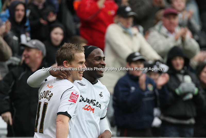 Pictured: Jason Scotland (right) and Mark Gower (left) of Swansea City celebrate <br /> Re: Coca Cola Championship, Swansea City Football Club v Watford at the Liberty Stadium, Swansea, south Wales 09 November 2008.<br /> Picture by Dimitrios Legakis Photography (Athena Picture Agency), Swansea, 07815441513