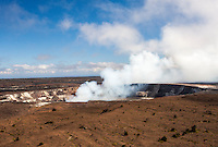 Smoke rising out of Halema'uma'u Crater in Hawai'i Volcanoes National Park, Big Island.