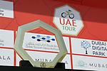 The winners trophy on display before Stage 1 of the UAE Tour 2020 running 148km from The Pointe to Dubai Silicon Oasis, Dubai. 23rd February 2020.<br /> Picture: LaPresse/Massimo Paolone | Cyclefile<br /> <br /> All photos usage must carry mandatory copyright credit (© Cyclefile | LaPresse/Massimo Paolone)