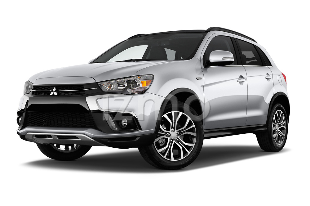 Stock pictures of low aggressive front three quarter view of a 2018 Mitsubishi Outlander Sport SEL 5 Door SUV