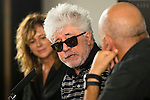 Spanish actress Emma Suarez (L), spanish director Pedro Almodovar (C) and his brother Agustin Almodovar (R) after the reading of the selected movie to represent Spain at the Oscars for Julieta in Madrid. September 07, 2016. (ALTERPHOTOS/Borja B.Hojas)
