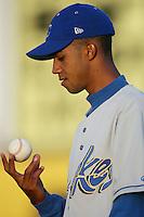 Pedro Liriano of the Rancho Cucamonga Quakes warms up before pitching during a California League 2002 season game against the High Desert Mavericks at Mavericks Stadium, in Adelanto, California. (Larry Goren/Four Seam Images)