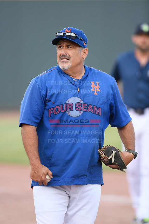 New York Mets catching coordinator Rob Natal works with the Columbia Fireflies before a game against the Rome Braves on Tuesday, June 4, 2019, at Segra Park in Columbia, South Carolina. Columbia won, 3-2. (Tom Priddy/Four Seam Images)