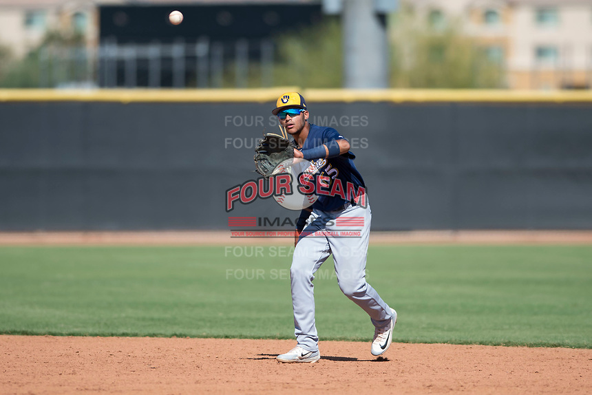 Milwaukee Brewers second baseman Daniel Castillo (65) waits to receive a throw during an Instructional League game against the San Diego Padres at Peoria Sports Complex on September 21, 2018 in Peoria, Arizona. (Zachary Lucy/Four Seam Images)