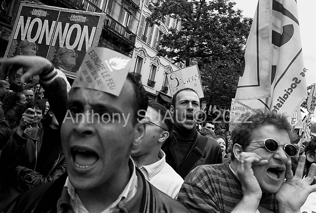 Paris, France.April 27, 2002..More then 100,000 take to the streets near the Place de la Republic to protest the far right Presidential candidate, Jean-Marie Le Pen..