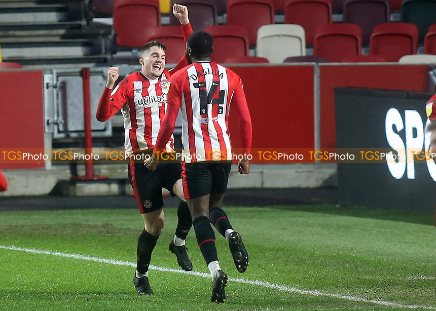 Josh DaSilva celebrates scoring Brentford's seventh goal with Sergi Canos during Brentford vs Wycombe Wanderers, Sky Bet EFL Championship Football at the Brentford Community Stadium on 30th January 2021