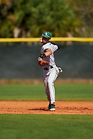 Dartmouth Big Green shortstop Bryce Daniel (4) throws to first base during a game against the Omaha Mavericks on February 23, 2020 at North Charlotte Regional Park in Port Charlotte, Florida.  Dartmouth defeated Omaha 8-1.  (Mike Janes/Four Seam Images)