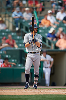 Columbus Clippers shortstop Eric Stamets (2) bats during a game against the Rochester Red Wings on August 9, 2017 at Frontier Field in Rochester, New York.  Rochester defeated Columbus 12-3.  (Mike Janes/Four Seam Images)