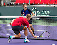 Moscow, Russia, 14 th July, 2016, Tennis,  Davis Cup Russia-Netherlands, Dutch team practise, Tim van Rijthoven and Wesley Koolhof (background)<br /> Photo: Henk Koster/tennisimages.com