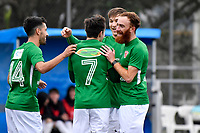Jonty Roubos of the Wairarapa United celebrates a goal with team mates during the Central League Football -  North Wellington FC v Wairarapa United at Alex Moore Park ( Alex Moore Artificial), Johnsonville, New Zealand on Saturday 29 May 2021.<br /> Copyright photo: Masanori Udagawa /  www.photosport.nz