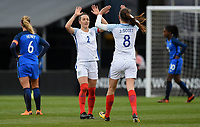 Columbus, Ohio - Thursday March 01, 2018: Jill Scott scores and celebrates with her team mates during a 2018 SheBelieves Cup match between the women's national teams of the England (ENG) and France (FRA) at MAPFRE Stadium.