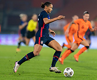 BREDA, NETHERLANDS - NOVEMBER 27: Lynn Williams #6 of the USWNT dribbles during a game between Netherlands and USWNT at Rat Verlegh Stadion on November 27, 2020 in Breda, Netherlands.