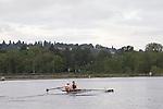 Rowing, Seattle, Pocock Rowing Center, Junior women's pair, workout, Lake Union, Washington State, spring, 2012,