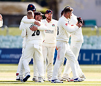 Matt Parkinson of Lancashire is mobbed after taking the final Kent wicket of Miguel Cummings during Kent CCC vs Lancashire CCC, LV Insurance County Championship Group 3 Cricket at The Spitfire Ground on 25th April 2021