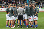 Carlisle United 1 Newcastle United 1, 21/07/2007. Brunton Park, Pre-season Friendly. Carlisle United players listening to their coach talking on the pitch before they take on Newcastle United in a pre-season friendly at the Cumbrian's Brunton Park ground. The match ended one goal each with Newcastle equalising Danny Livesey's opener through Nolberto Solano in the last minute. During the 2007-08 season Carlisle played in League One, English football's third tier, while Newcastle were a top Premiership team. Photo by Colin McPherson.