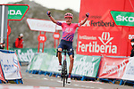 Hugh John Carthy (GBR) EF Pro Cycling wins Stage 12 of the Vuelta Espana 2020 running 109.4km from Pola de Laviana to Alto de l'Angliru, Spain. 1st November 2020..    <br /> Picture: Luis Angel Gomez/PhotoSportGomez | Cyclefile<br /> <br /> All photos usage must carry mandatory copyright credit (© Cyclefile | Luis Angel Gomez/PhotoSportGomez)