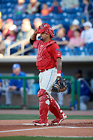 Clearwater Threshers catcher Deivi Grullon (13) during a game against the Dunedin Blue Jays on April 7, 2017 at Spectrum Field in Clearwater, Florida.  Dunedin defeated Clearwater 7-4.  (Mike Janes/Four Seam Images)