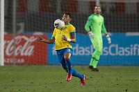 13th October 2020; National Stadium of Peru, Lima, Peru; FIFA World Cup 2022 qualifying; Peru versus Brazil;  Thiago Silva of Brazil brings the ball down on his chest
