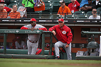 SAN FRANCISCO, CA - JULY 23:  Manager Dusty Baker #12 and coach Chris Speier #35 of the Cincinnati Reds watch the game against the San Francisco Giants at AT&T Park on Tuesday, July 23, 2013 in San Francisco, California. Photo by Brad Mangin