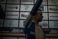3rd place finisher Iljo Keisse (BEL/QuickStep Floors) cleaning up post-race for the podium ceremony<br /> <br /> GP Le Samyn 2017 (1.1)