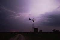 Wind mill with lightning, Sinton, Corpus Christi, Coastal Bend, Texas, USA