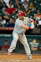 Philadelphia Phillies pinch hitter Laynce Nix #19 at bat during the Major League baseball game against the Houston Astros on September 16th, 2012 at Minute Maid Park in Houston, Texas. The Astros defeated the Phillies 7-6. (Andrew Woolley/Four Seam Images).