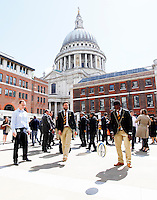 Photo: Richard Lane/Richard Lane Photography. Wasps in the City, Paternoster Square, London. 30/04/2015. Wasps players mix with the public.