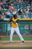 Rymer Liriano (27) of the Salt Lake Bees bats against the New Orleans Baby Cakes at Smith's Ballpark on June 11, 2018 in Salt Lake City, Utah. New Orleans defeated Salt Lake 6-5.  (Stephen Smith/Four Seam Images)