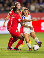 CARSON, CA - FEBRUARY 07: Kadeisha Buchanan #3 of Canada defends during a game between Canada and Costa Rica at Dignity Health Sports Complex on February 07, 2020 in Carson, California.