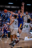 9 February 2019: University at Albany Great Dane Forward Adam Lulka, a Redshirt Freshman from Sydney, Australia, in second-half action against the University of Vermont Catamounts at Patrick Gymnasium in Burlington, Vermont. The Catamounts defeated the Danes 67-49 in their America East matchup. Mandatory Credit: Ed Wolfstein Photo *** RAW (NEF) Image File Available ***