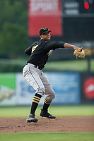 West Virginia Power starting pitcher Oddy Nunez (47) in action against the Kannapolis Intimidators at Kannapolis Intimidators Stadium on June 17, 2017 in Kannapolis, North Carolina.  The Power defeated the Intimidators 6-1.  (Brian Westerholt/Four Seam Images)