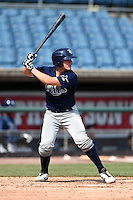Nick Fortes (4) of DeLand High School in DeLand, Florida playing for the Tampa Bay Rays scout team during the East Coast Pro Showcase on August 2, 2014 at NBT Bank Stadium in Syracuse, New York.  (Mike Janes/Four Seam Images)