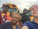 Bus drivers and support staff helped evacuate residents in the Greenspoint area who were displaced by severe flooding.