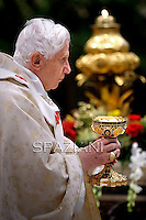 New Cardinals Pope Benedict XVI during the mass in St. Peter's basilica the Vatican.February 19,2012