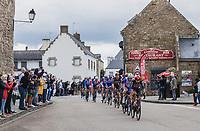 Thomas De Gendt (BEL/Lotto Soudal) leading the peloton through town <br /> <br /> Stage 3 from Lorient to Pontivy (183km)<br /> 108th Tour de France 2021 (2.UWT)<br /> <br /> ©kramon