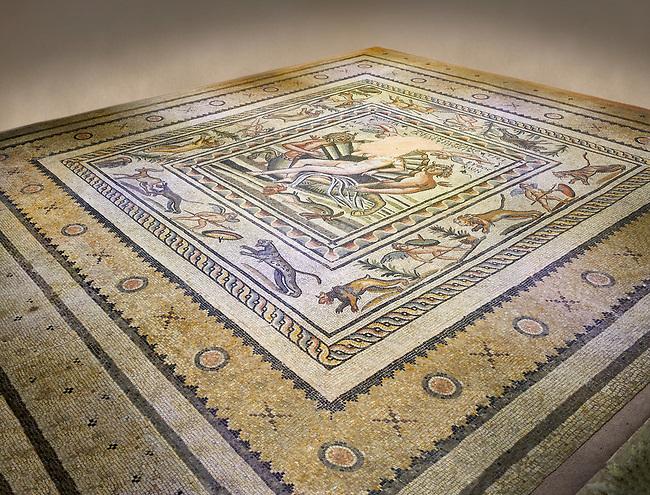 Roman mosaics - Birth of Aphrodite (Venus) Mosaic.  Poseidon Villa Ancient Zeugama, 2nd - 3rd century AD . Zeugma Mosaic Museum, Gaziantep, Turkey.   Against an art background.