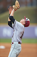 North Carolina Central Eagles first baseman Andrew Valichka (16) settles under a pop fly during the game against the High Point Panthers at Williard Stadium on February 28, 2017 in High Point, North Carolina. The Eagles defeated the Panthers 11-5. (Brian Westerholt/Four Seam Images)
