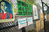 Washington, DC - June 15, 2020: Signs are hang from a fence in Lafayette Park across from the White House, June 15, 2020, in the wake of the police killing of George Floyd in Minnesota.  (Photo by Don Baxter/Media Images International)