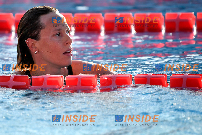 Federica Pellegrini of Italy reacts after competing in the women 200m freestyle during the 58th Sette Colli Trophy International Swimming Championships at Foro Italico in Rome, June 25th, 2021. Federica Pellegrini placed first. <br /> Photo Andrea Staccioli/Insidefoto/Deepbluemedia