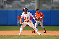 Illinois State Redbirds Paul DeJong (14) leads off in front of shortstop Brian Bien during a game against the Bowling Green Falcons on March 11, 2015 at Chain of Lakes Stadium in Winter Haven, Florida.  Illinois State defeated Bowling Green 8-7.  (Mike Janes/Four Seam Images)