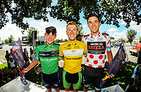 Jersey winners, from left: Michael Potter (ACA, most aggressive), Rick Reddish (tour leader, Oliver's Real Food Racing) and Dylan Newbury (KOM,  Mobius Future Racing). Stage Three of the 2018 NZ Cycle Classic UCI Oceania Tour (Masterton to Martinborough) in Wairarapa, New Zealand on Friday, 19 January 2018. Photo: Dave Lintott / lintottphoto.co.nz