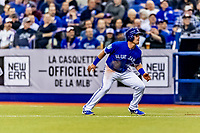 25 March 2019: Toronto Blue Jays outfielder Billy McKinney in action during an exhibition game against the Milwaukee Brewers at Olympic Stadium in Montreal, Quebec, Canada. The Brewers defeated the Blue Jays 10-5 in the first of two MLB pre-season games in the former home of the Montreal Expos. Mandatory Credit: Ed Wolfstein Photo *** RAW (NEF) Image File Available ***