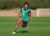 ORLANDO, FL - JANUARY 21: Crystal Dunn #19 of the USWNT sprints during a training session at the practice fields on January 21, 2021 in Orlando, Florida.