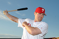 Feb 20, 2009; Clearwater, FL, USA; The Philadelphia Phillies infielder Andy Tracy (33) during photoday at Bright House Field. Mandatory Credit: Tomasso De Rosa/ Four Seam Images