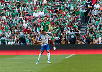 Mexico City, Mexico - Sunday June 11, 2017: Bobby Wood, Héctor Moreno during a 2018 FIFA World Cup Qualifying Final Round match with both men's national teams of the United States (USA) and Mexico (MEX) playing to a 1-1 draw at Azteca Stadium.