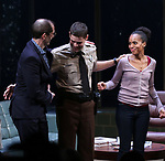 Christopher Demos-Brown, Jeremy Jordan, Kerry Washington during the Broadway Opening Night Curtain Call for 'AMERICAN SON' at the Booth Theatre on November 4, 2018 in New York City.