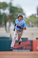 Tampa Bay Rays Josh Lowe (18) running the bases during an Instructional League game against the Baltimore Orioles on October 2, 2017 at Ed Smith Stadium in Sarasota, Florida.  (Mike Janes/Four Seam Images)
